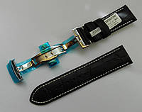 Ремешок Hightone с застежкой бабочкой, кожаный, анти-аллергенный, черный с белой строчкой