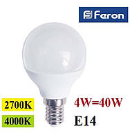 Светодиодная лампа Feron LB-380 4W G45 Е14, фото 1
