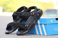 Мужские босоножки Adidas, замшевые, черные /  летние сандалии мужские Адидас, стильные