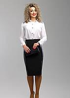 Красивая черная юбка-карандаш с вышивкой и экокожей, батал