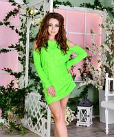 Недорогое повседневное женское трикотажное летнее платье Муар с вырезами на плечах   +цвета