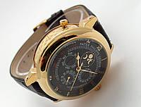 Мужские Patek Philippe - SKY MOON tourbillon коричневый кожаный ремешок, корпус - золотистый, черный циферблат