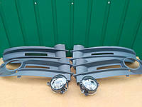Комплект Противотуманки+решотки в бампер Volkswagen Caddy / Фольксваген Кадди