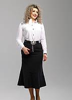 Классическая черная юбка с вышивкой длины миди, батал