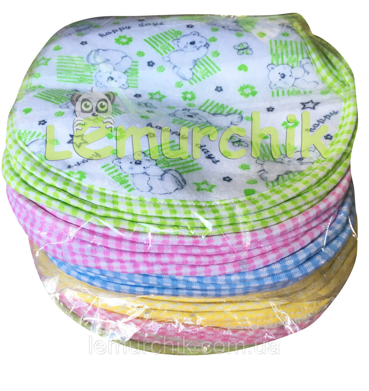 Слюнявчик нагрудник для ребенка (упаковка 12 шт)