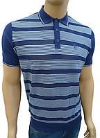 Синяя шелковая тенниска с коротким рукавом