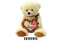Мягкая игрушка Мишка с сердечком музыкальный 6792\40 сидячий 40 см
