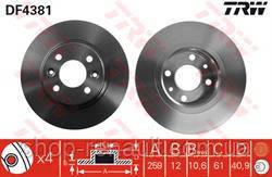 Диск тормозной (к-т 2 шт) невентилируемый 259 мм TRW DF4381