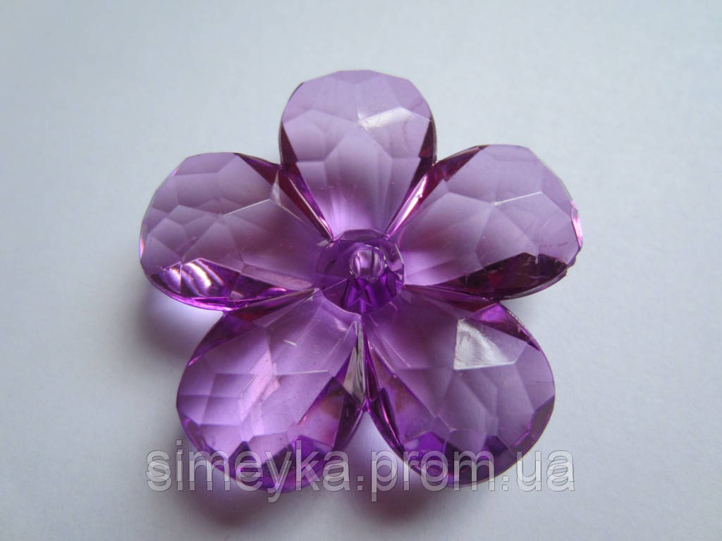 Цветок акриловый объёмный, рифлёный, для заколки, бижутерии, диаметр 4 см Сиренево-фиолетовый