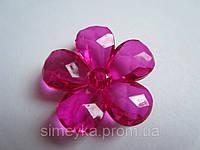 Цветок для бижутерии акриловый объёмный, рифлёный, диаметр 3 см Малиновый