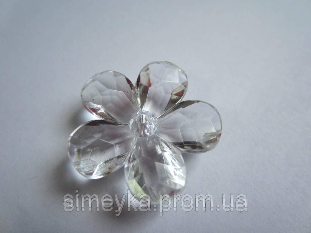 Цветок для заколки акриловый объёмный, рифлёный, диаметр 23 мм