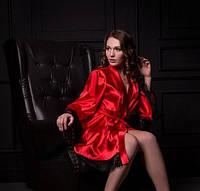 Легкий атласный халат с широким рукавом Красный оптом