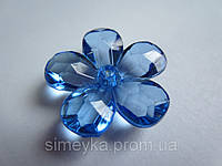 Цветок для заколки акриловый объёмный, рифлёный, диаметр 23 мм Голубой