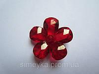 Цветок для заколки акриловый объёмный, рифлёный, диаметр 23 мм Красный