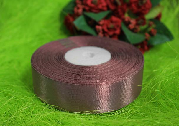 Лента атласная цвет какао 25 мм, моток 33 м., фото 2