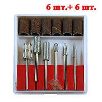 Набор насадок - фрез для нарощеных ногтей, 6+6 шт..