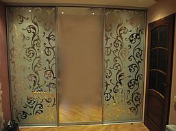 Двери купе з наполнением зеркало художественное матирование, фото 3