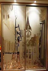 Двери купе з наполнением зеркало художественное матирование, фото 2