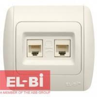 Розетка двойная компьютерная RJ45 белая EL-BI Zirve Fixline 501-000201-248