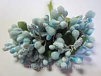 """Додаток к цветам """"рис"""" или """"шишечки"""" голубые с зелёными листиками, букетик из 11 соцветий, длина 12 см, фото 1"""