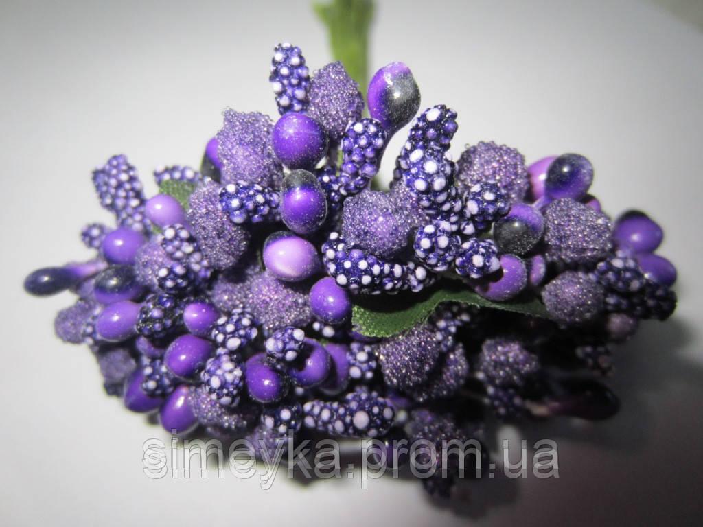 """Додаток к цветам """"рис"""" или """"шишечки"""" фиолетовые с зелёными листиками, букетик из 11 соцветий, длина 12 см"""