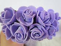 Роза из ФЭМ фиолетовая, букетик из 11 цветков, диаметр розы 15-20 мм, длина проволоки 7 см