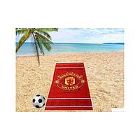 Махрово-велюровое пляжное полотенце Манчестер Юнайтед-1, 75*150, Турция