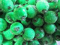 """Ягоды зелёные искусственные для оборучей """"сахарные"""", соцветие из 40 ягод, диаметр ягоды 12мм"""