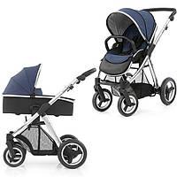 Детская универсальная коляска 2 в 1 Oyster Max  Oxford Blue / Mirror ТМ BabyStyle  (люлька+прогулочный блок)