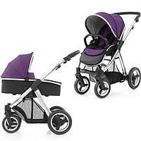 Детская универсальная коляска 2 в 1 Oyster Max Wild Purple / Mirror ТМ BabyStyle  (люлька+прогулочный блок)