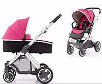 Детская универсальная коляска 2 в 1 Oyster Max Wow Pink / Mirror ТМ BabyStyle  (люлька+прогулочный блок)