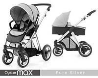 Детская универсальная коляска 2 в 1 Oyster Max Pure Silver / Mirror ТМ BabyStyle  (люлька+прогулочный блок)