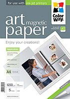 Фотобумага ColorWay с магнитной подложкой, матовая, 650 г/м2, A4, 5 л (PMA650005MA4)