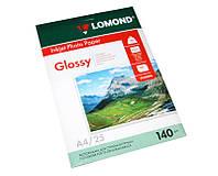 Фотобумага Lomond, глянцевая, односторонняя, 140 г/м2, A4, 25л (0102076)