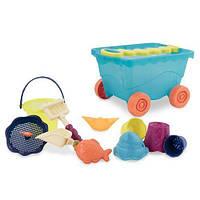 Набор для игры с песком и водой - ТЕЛЕЖКА МОРЕ для детей от 1 до 2 лет (11 предметов) ТМ Battat BX1596Z