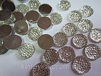 Камень декоративный круглый со стразами серебристый, размер 12 мм