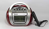 Радио RX 656,Компактная Магнитола С Караоке Golon RX-656Q,  Бумбокс колонка караоке часы MP3 Golon