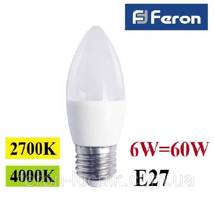 Світлодіодна лампа 6W Е27 LED Feron LB-737 C37 свічка