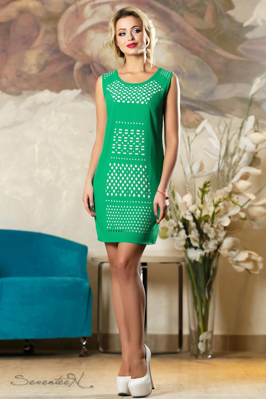 016971ad91490e7 Летнее шифоновое платье с перфорацией классического кроя 44-50 размера