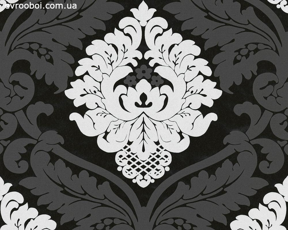 Чорно-білі німецькі шпалери в стилі бароко White & colours 554314 великий гобеленовий візерунок вензель і орнамент
