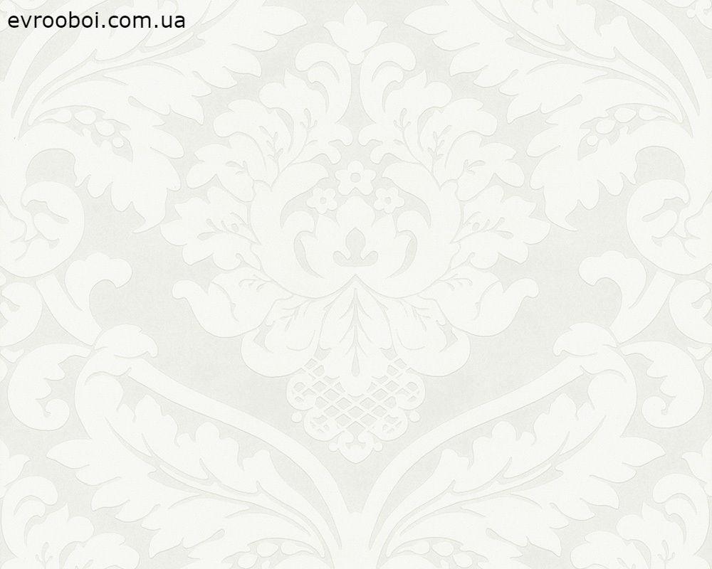 Білі німецькі шпалери Black & White 554338 з великим гобеленовим візерунком вензель і орнамент, в стилі бароко