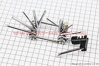 Ключ-набор 12 предметов (шестигранники 2,2.5,3,4,5,6,8мм, отвёртки прямая и фигурная, Т25 ключ-звездочка, выжимка цепи).