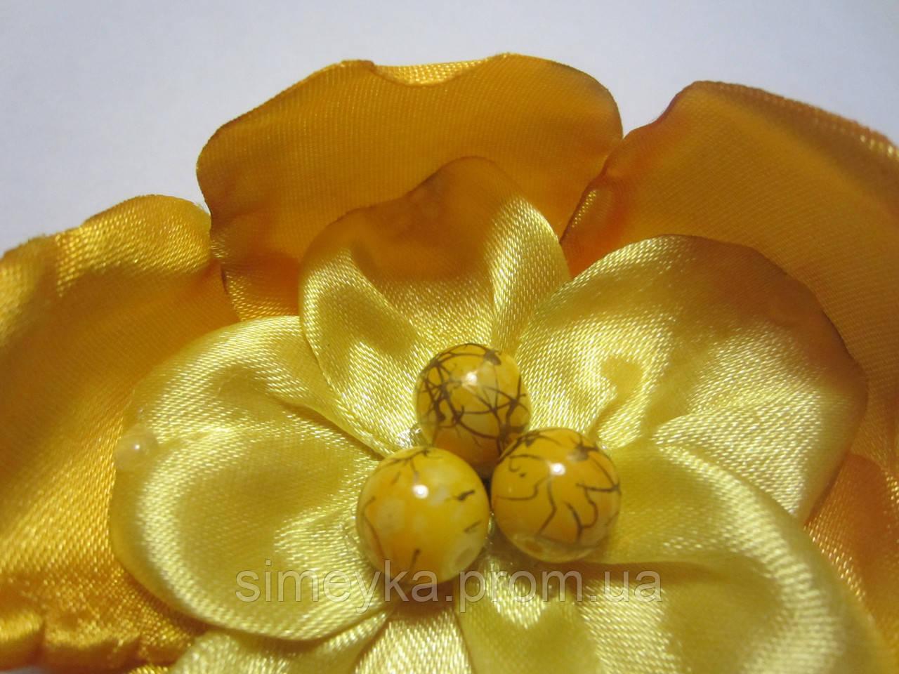 Бусина керамическая 10 мм жёлтая с золотым декором