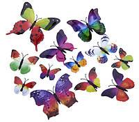 """Наклейка на стену, наклейки в офис, на витрину """"наклейки бабочки 3D с двойными крыльями разноцветные"""" 12шт"""