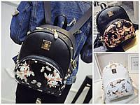 Рюкзак женский кожзам городской Цветочный