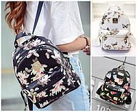 Рюкзак женский кожзам маленький городской (Цветочный принт)