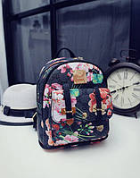 Городской мини рюкзак с цветочным принтом в стиле Gucci