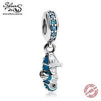 """Серебряная подвеска-шарм Пандора (Pandora) """"Морской конек"""" для браслета"""