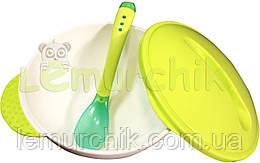 Набор тарелочка на присоске с ложечкой Lindo A-50 Premium