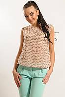 Легка літня шифонова блуза без рукавів розміри 42-52, фото 1